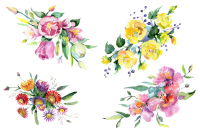Bouquet of flowers matures feelings watercolor png
