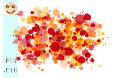 Red, orange, yellow watercolor drops background
