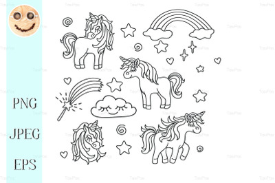 Unicorn, rainbow, magic wand vector sketch set