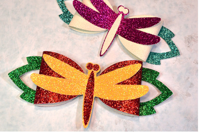 Dragonfly Hair bow template SVG, DXF, PDF with DIY tutorial