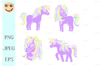 Purple unicorn set on the white background