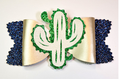 Cactus Hair bow template SVG, DXF, PDF with DIY tutorial