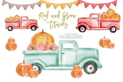 Pumpkin truck clipart, Watercolor Red Truck Pumpkins