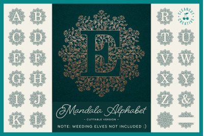Intricate Mandala Monogram Alphabet for craft cutters SVG DXF FCM PNG