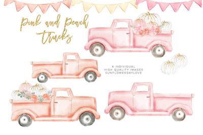 Autumn Truck, pink Pumpkin Harvest Truck, Peach Harvest Truck