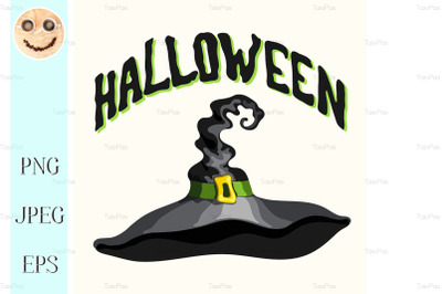 Halloween title and black witch hat on white