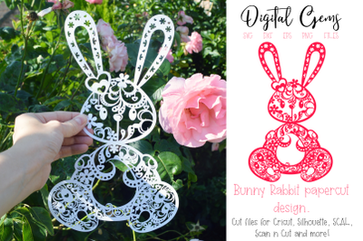 Rabbit paper cut design