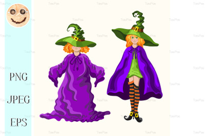 Cartoon young witches isolated on the white