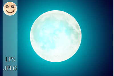 Full moon over blue night sky background 2