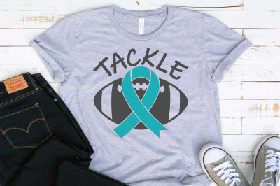 Tackle Football Ribbon Loss Svg Survivor Ovarian Cervical 1557S