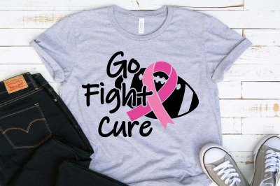 Go fight Cure Breast Cancer Cheer for cure cheerleader Football 1522s