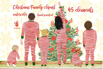 Christmas family clipart, Matching pajamas, Christmas Tree