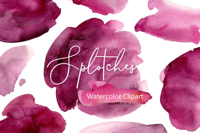 Burgundy Watercolor Splotches Stains Spots PNG