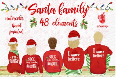 Christmas family clipart, Santa hat, Santa matching pajamas