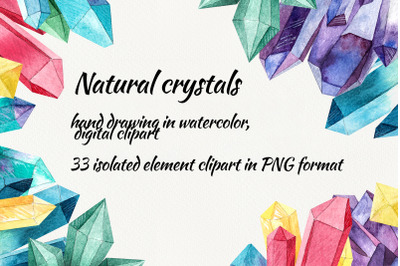 Watercolor crystals. clipart with crystals, digital drawing with natur