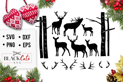 Deer Set 5 Christmas deers SVG