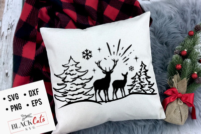 Christmas Scene SVG Deers in the snow SVG