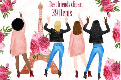 Best Friends Clipart, Paris clipart, Eiffel Tower clipart