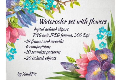 rt Watercolor iris,forget-me-not,magnolia, isolated clipart with flowe