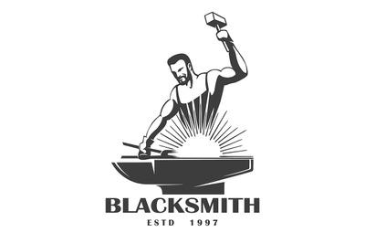 Blacksmith Emblem in Engraving Style. Vector Illustration.
