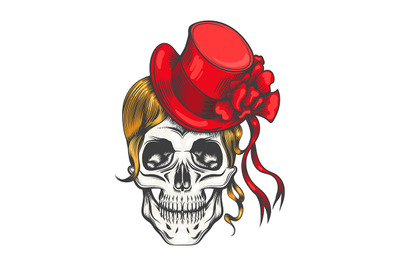 Human Skull in Red Fashion Hat. Vector illustration.