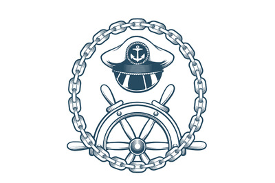 Nautical Emblem with Captain Hat and Navigation Wheel. Vector Illustra