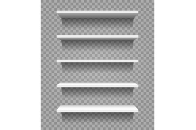 Shop Product Blank Shelves isolated on Transparent Background. Vector