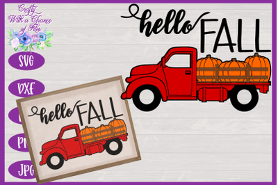 Hello Fall SVG | Pumpkin Truck SVG | Fall SVG | Autumn SVG