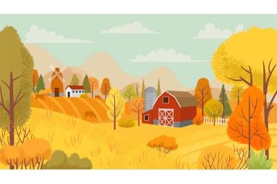 Autumn farming landscape. Country farm, yellow trees and farmhouse fie