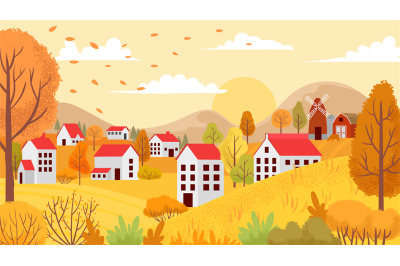 Autumn village landscape. Countryside autumnal gardens, yellow trees a