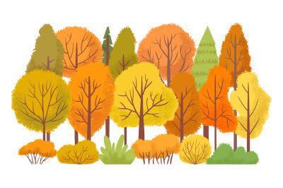 Autumn forest trees. Autumnal garden, yellow tree abstract cartoon vec
