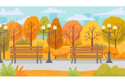 Cartoon autumn park. Yellow trees, city parks environment and nature p