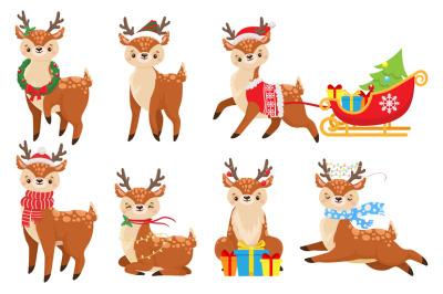Cartoon christmas deer. Cute fawn in winter scarf, xmas reindeer child