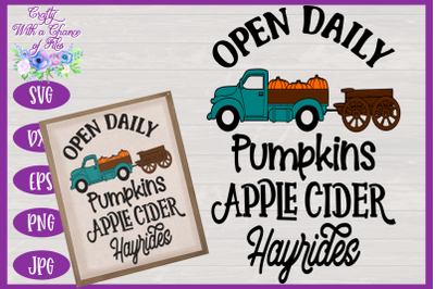 Farm Open Daily SVG | Pumpkin Truck SVG | Fall SVG | Autumn SVG | Farm