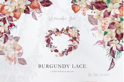 Watercolor Floral Set Burgundy Lace