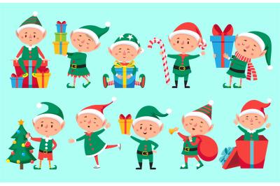 Christmas elf character. Cute Santa Claus helpers elves. Funny Xmas wi