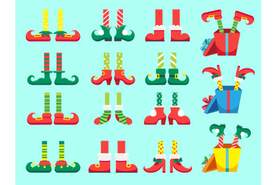 Christmas elf feet. Shoes for elves foot, Santa Claus helpers dwarf le