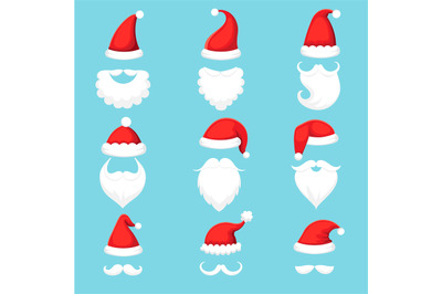 Santa Claus hat and beard. Christmas traditional red warm hats with fu