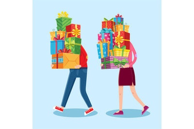 Carry gifts stack. Carrying christmas stacked presents in man and woma