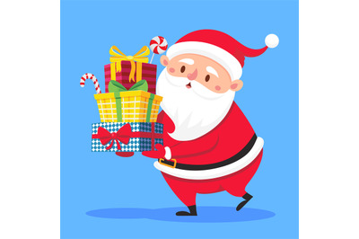 Santa Claus carry gifts stack. Christmas gift box carrying in hands. H