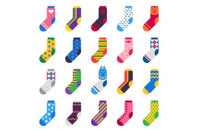 Sock icon. Sport long socks, kids feet clothes and striped warm hosier