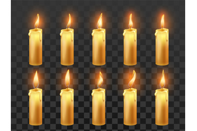 Candle fire animation. Burning orange wax candles, candlelight flame a