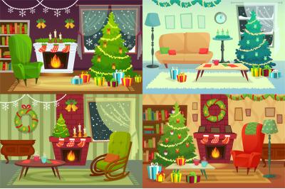 Christmas room interior. Xmas home decoration, Santa gifts under tradi