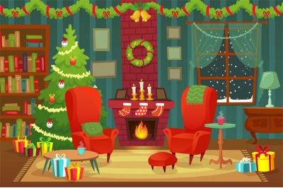 Decorated christmas room. Winter holiday interior decorations, armchai