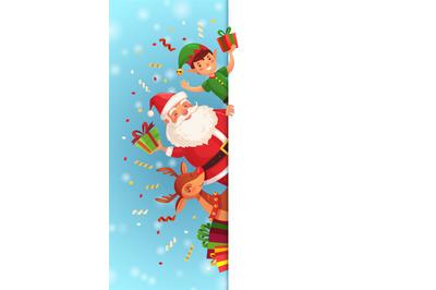 Christmas cartoon characters. Santa Claus, xmas elf character and rein