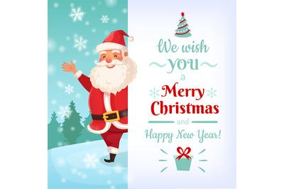 Merry Christmas card. Santa Claus greeting cards template, winter holi