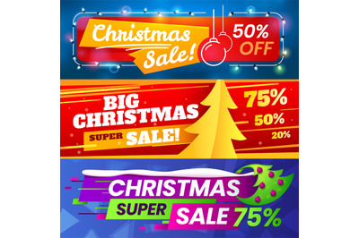 Xmas sale banners. Advertising christmas marketing deals, winter holid