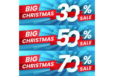 Christmas Sale Discount. Xmas advertising sales discounts deals, winte