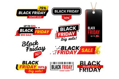 Black friday labels. Sale sticker for thanksgiving fridays sales, shop