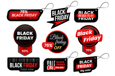 Black friday tag. Market sale tags, shopping sales sign label and mark
